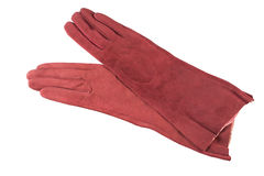 Womens gloves. Red elegant womens leather gloves Stock Photography