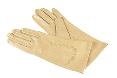 Womens gloves. Yellow elegant womens leather gloves Royalty Free Stock Photo