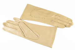 Womens gloves. Yellow elegant womens leather gloves Royalty Free Stock Images