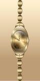 Womens gold  wristwatch white background Clock gold bracelet Stock Photo