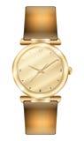 Womens gold  wristwatch white background Clock gold bracelet Stock Photography