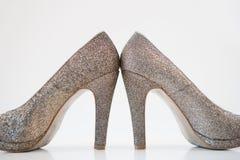 Womens golden high heels Stock Photography