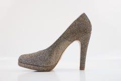 Womens golden high heels Royalty Free Stock Photo