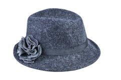 Womens gray fedora. Isolated on a white background Royalty Free Stock Photography