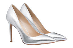Womens gray glossy shoes Stock Photography