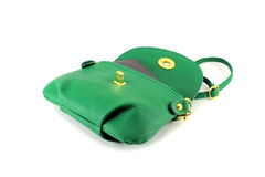Womens green handbag. Isolated object on white background. Royalty Free Stock Photos