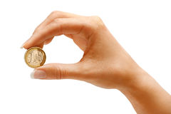 Womens hand holding a coin one euro Stock Photos