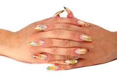 Womens hands with a  beauty manicure Stock Photos