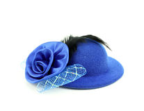 Womens hat with a pink bow and black feathers Stock Photo