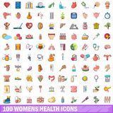 100 womens health icons set, cartoon style. 100 womens health icons set in cartoon style for any design vector illustration Stock Images