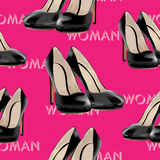 Womens high heel shoes, vector seamless pattern. Stock Photo