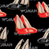 Womens high heel shoes, vector seamless pattern. Stock Photography