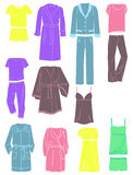 Womens household clothing. A set of silhouettes of womens  household clothing Stock Photo