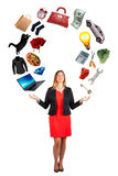 Women interests. Woman commitments, passions and desires Stock Images