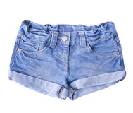 Womens jean shorts isolated. Womens jean shorts isolated on white royalty free stock photo