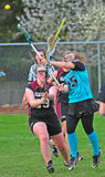 Women lacrosse. Game of lacrosse is a battle of raised sticks as female players attack and defend goal. OGLA (Oregon Girls Lacrosse Association) Hillsboro's royalty free stock photos