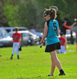 Womens Lacrosse Player 2. High School Girls lacrosse player ready to start the game Stock Photos