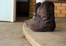 Womens leather cowboy boots stock image
