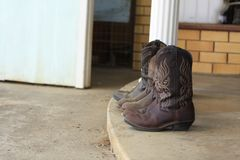 Womens leather cowboy boots stock photo