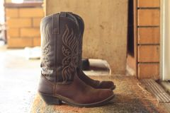 Womens leather cowboy boots royalty free stock image