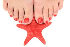 Womens legs (nails) and starfish Stock Photos
