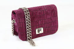 Womens lilac crocodile skin clutch day handbag Royalty Free Stock Photo