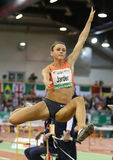 Womens Long Jumper Erica Jarder of Sweden. Royalty Free Stock Images