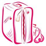 Womens luggage, large suitcase and handbag vector illustration