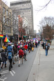 Womens` March Asheville NC. Vertical view of downtown street filled with people marching Womens` March on Asheville NC January 21st 2017 Royalty Free Stock Photo