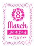 Womens March 8 Greeting Card Design Zigzag Frame. Womens day March 8 greeting card design, abstract zigzag framing and pink text decorated by flowers vector vector illustration