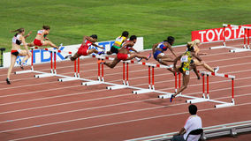 Womens 100 metres hurdles final at IAAF World Championships in Beijing, China Stock Photo