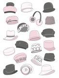 Womens outerwear. Set of autumn womens hats vector illustration