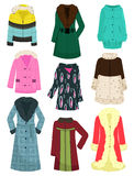 Womens outerwear. A set of womens jackets, coats, sheepskin coats, etc. for the winter and late autumn royalty free illustration
