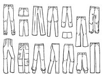 Womens pants. Set of silhouettes of different types of womens pants and shorts Stock Images