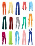Womens pants. Set of female pants isolated on white background Royalty Free Stock Image