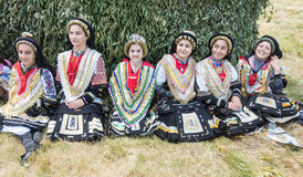 Womens part of the Greek dance ensemble at the festival Rozhen 2015 in Bulgaria royalty free stock image
