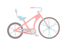 Womens pink bicycle  on white background Stock Photos
