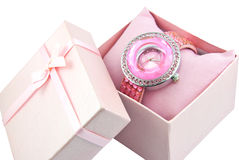 Womens Pink Watch In A Pink Box Stock Images