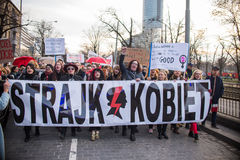 Womens protest `Strajk Kobiet` on Womans Day against Polish government PIS Royalty Free Stock Photography