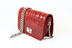 Womens red crocodile skin clutch day handbag Royalty Free Stock Image