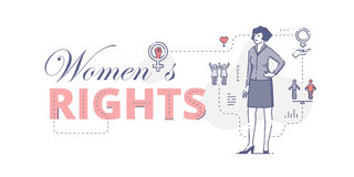 Womens rights web banner. Illustrative typography horizontal banner with words `Women`s rights` and woman standing akimbo. Women`s empowerment related  flat Royalty Free Stock Image