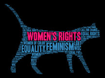 Womens Rights Word Cloud. On a black background Stock Photography