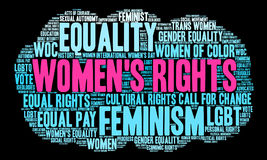 Womens Rights Word Cloud. On a black background royalty free stock images