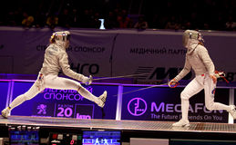 Womens Sabre match of World Fencing Championships Stock Photos