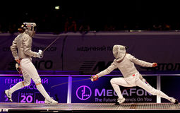 Womens Sabre match of World Fencing Championships Royalty Free Stock Photos
