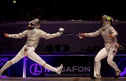 Womens Sabre match of World Fencing Championships Royalty Free Stock Image