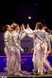 Womens Sabre match of World Fencing Championships Stock Photography