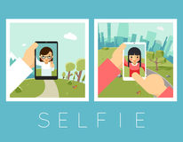 Womens selfie. Outdoor and mountains photos. Portrait and smartphone, camera and face, vector illustration Stock Photography