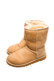 Womens Sheepskin boots isolated on white Royalty Free Stock Images