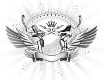 Womens Shield Insignia. Valkyries Blows The Horns Shield Insignia Stock Photo